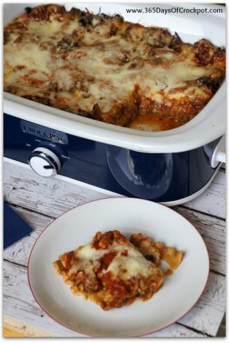 Slow Cooker Pesto Mushroom Lasagna
