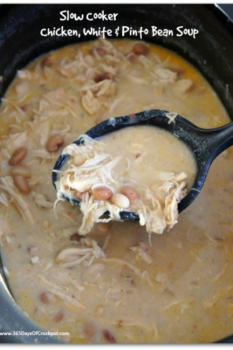 Slow Cooker Chicken, White Bean and Pinto Bean Soup