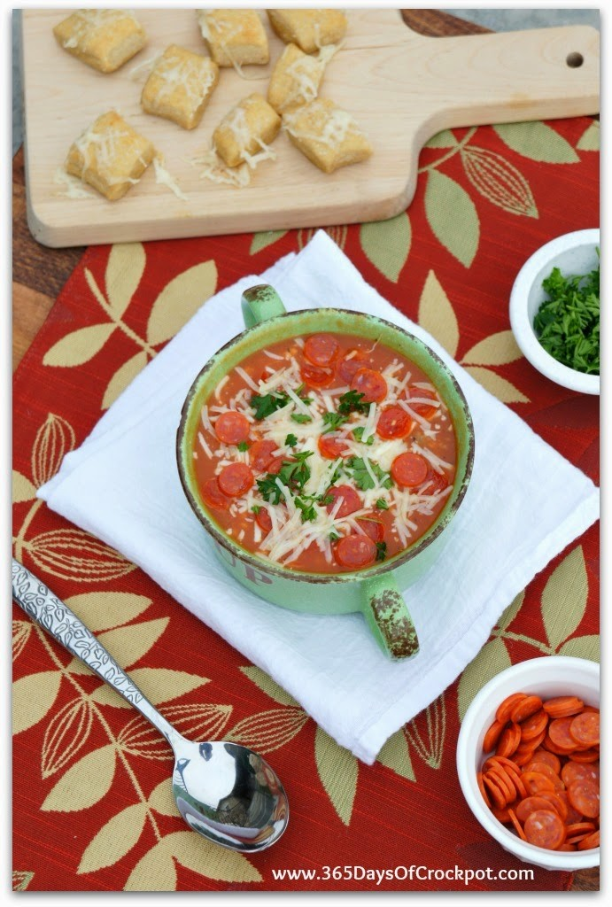 Slow Cooker Pizza Soup is a perfect way to make pizza at home. It's so easy and tastes amazing!