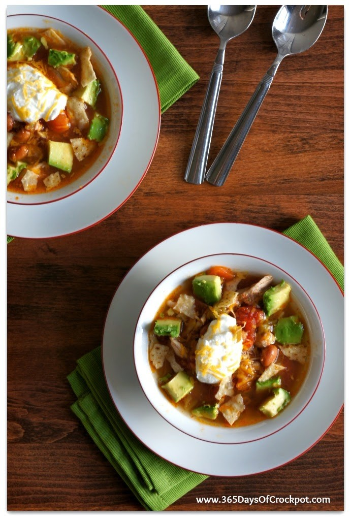 Slow Cooker Busy Day Chicken (or turkey) Taco Soup with Avocado