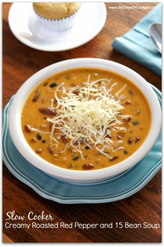 Slow Cooker Creamy Roasted Red Pepper and 15 Bean Soup