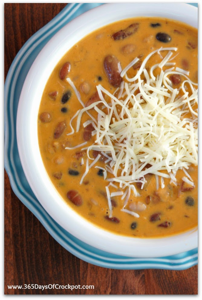 Creamy Crockpot Soup with pureed roasted red pepper and ham and beans