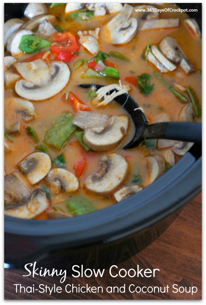 Skinny Slow Cooker Thai Style Chicken And Coconut Soup