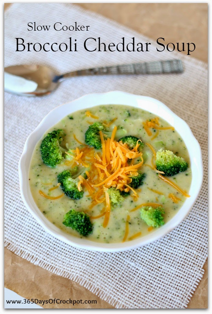 Slow Cooker Broccoli Cheddar Soup (lightened up and gluten free) - 365 Days of Slow Cooking and Pressure Cooking