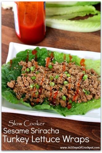 Slow Cooker Sesame Sriracha Turkey Lettuce Wraps
