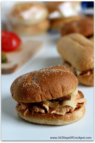 Slow Cooker Cream Cheese Chicken Sandwiches