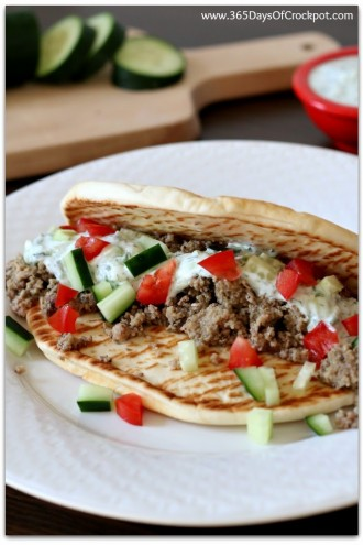Slow Cooker Greek Turkey Pitas (So Easy a Kid Could Do It + Video)