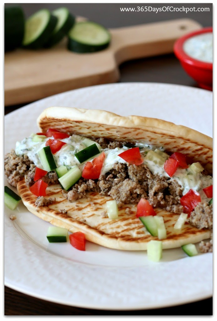 Slow Cooker Greek Turkey Pitas So Easy A Kid Could Do It Video 365 Days Of Slow Cooking