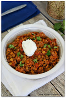 Recipe for crockpot turkey lentil chili...protein and fiber packed. Totally flavorful recipe!
