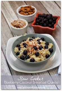 Recipe for Slow Cooker Blueberry-Coconut Breakfast Quinoa #littlechanges #slowcooker #quinoa #breakfast #crockpotrecipe