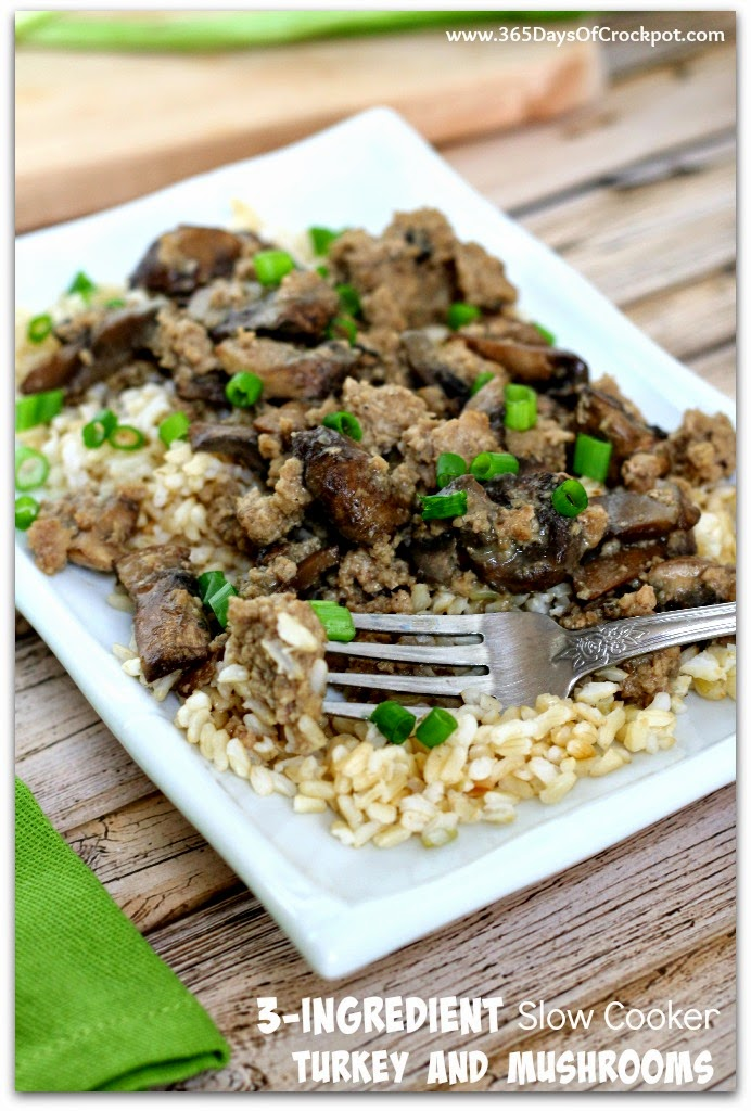 3 Ingredient Slow Cooker Ground Turkey And Mushrooms So