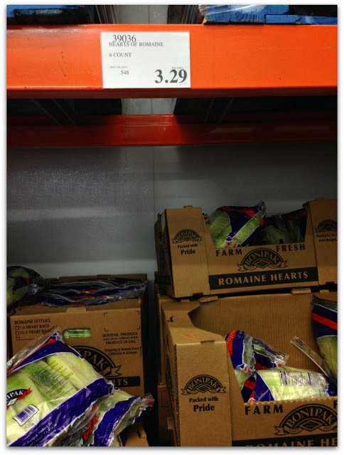 romaine lettuce 6 count at costco is only $3.29---a really great deal if you love salads!