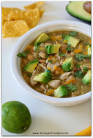 Green Chicken Chili in the Slow Cooker with Avocados