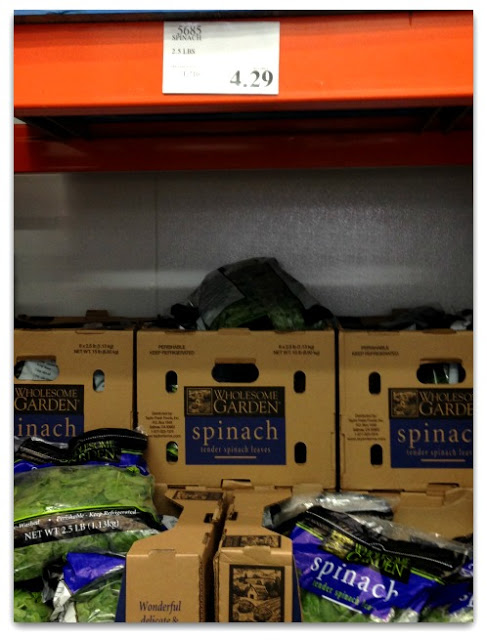 spinach is a really good deal at costco a huge 2 1/2 lb bag for olny $4.29