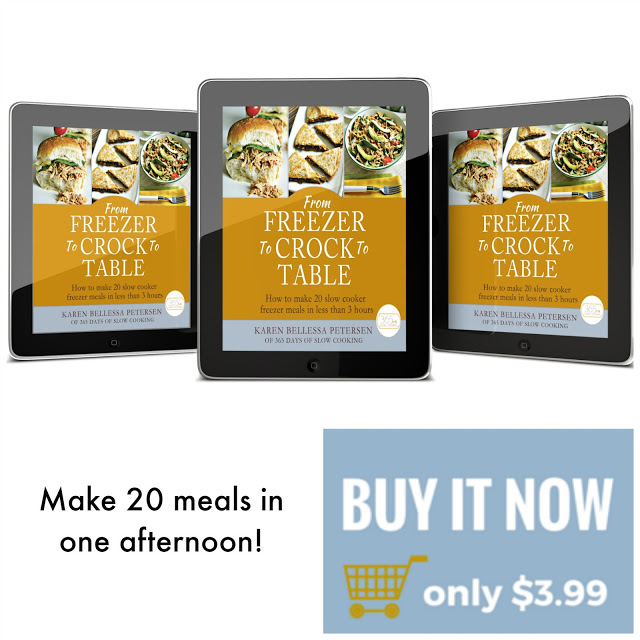 This ebook give you all the instructions on how to make 20 slow cooker freezer meals in one afteroon. It's only $3.99