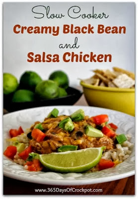 Crockpot recipe for creamy black bean salsa chicken #crockpot #slowcooker #chicken #recipe #dinner