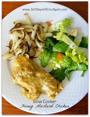 Recipe for Slow Cooker Honey Mustard Chicken #crockpot #slowcooker #easydinner