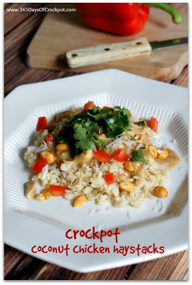 CrockPot Coconut Chicken Haystacks Recipe #recipe #easydinner #crockpot #slowcooker