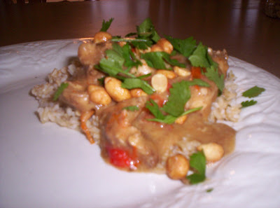 thai chicken peanut sauce over rice