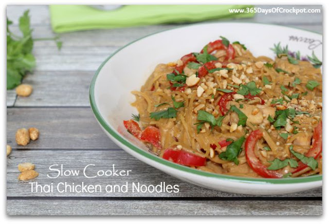 Slow Cooker Thai Chicken and Noodles: Moist, bite-size pieces of chicken and tender pieces of red bell pepper surrounded by a creamy, peanut sauce with a hint of lime. It sounds exotic but it's so easy pretty much anyone can make it :)
