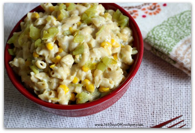 Slow Cooker Pepper Jack Mac with Green Chiles and Corn: A creamy, comforting and slightly spicy macaroni and cheese that's made in the slow cooker. This is a perfect side dish for dinner or an offering at a potluck.
