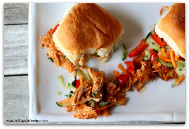 Instant Pot Chicken Sliders with Cucumber Slaw—Tender shredded chicken with a scrumptious sauce and then a little crispness from cucumbers. An easy recipe with a lot of flavor and freshness. A perfect meal for a summer evening.