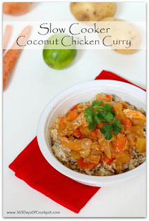 Easy slow cooker recipe for coconut chicken curry--restaurant quality!
