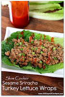 Slow Cooker Sesame Sriracha Turkey Lettuce Wraps--Gluten Free and Low Carb