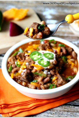 Slow Cooker Beefy 15-Bean Chili (with Cajun-Lime Sour Cream)