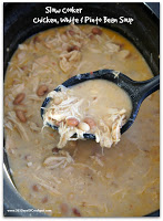 Slow Cooker Chicken, White Bean and Pinto Bean Soup is chock full of chicken, beans, parmesan cheese and sour cream