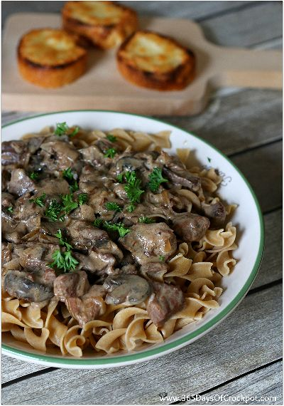 only 5 ingredients for this spectacular slow cooker meal--french onion beef stroganoff