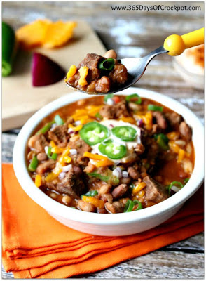 Slow Cooker Beefy 15-Bean Chili with Cajun-Lime Sour Cream Recipe--perfect tailgating food