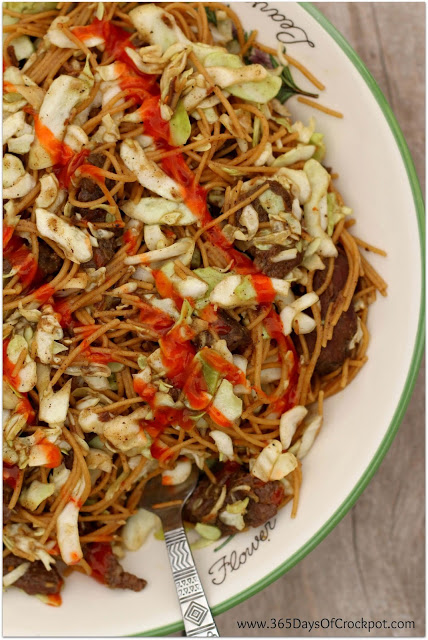 Slow Cooker Peppery Beef Noodles with spicy Sriracha and crisp cabbage
