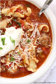 Slow cooker lasagna soup recipe. Don't forget to top with a dollop of ricotta cheese!