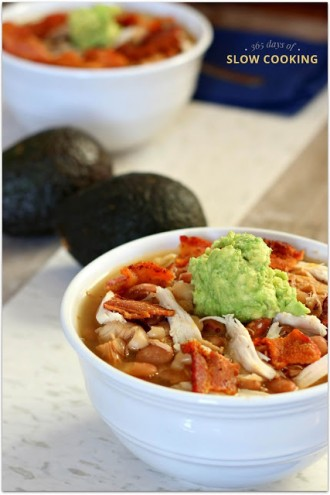 Slow Cooker Turkey Bacon Avocado and Bean Soup