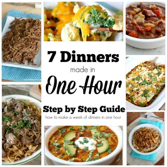 With this simple step-by-step assembly-style guide you'll be able to make 7 crockpot freezer meals in one hour (I did it in 55 minutes!). The recipes that are included in this guide are some of the most popular dinner recipes I have: cheesy broccoli and chicken casserole, taco casserole, beef stew, crockpot roast, french onion stroganoff, garlic lime chicken and enchilada soup. If you have the freezer space you can double each recipe and have 14 meals ready to go in not much more than an hour.