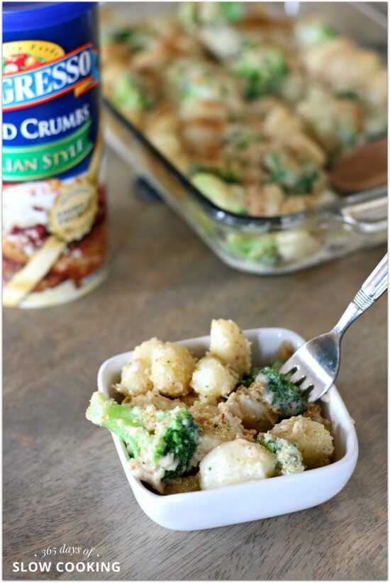 Dumpling-like gnocchi enveloped in a homemade creamy pepper jack cheese sauce with bright green and only slightly cooked broccoli and topped with toasted breadcrumbs is what I call the ultimate comfort food. And the good thing is that this recipe can be whipped up in less than 30 minutes.