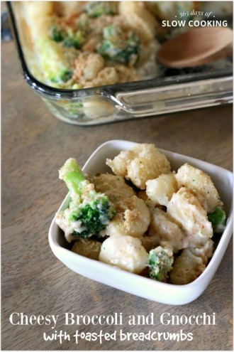 Gnocchi Pepper Jack Mac and Cheese with Broccoli and Toasted Bread Crumbs