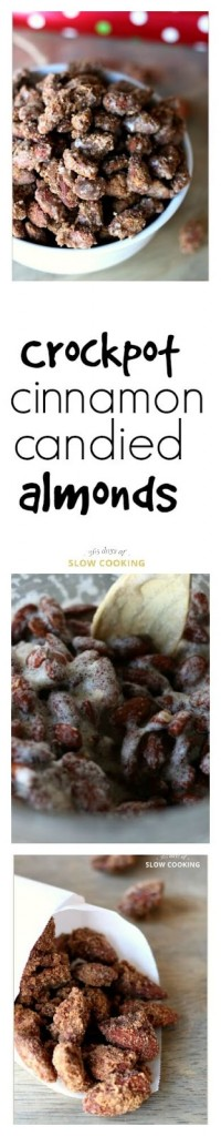 Crockpot cinnamon candied roasted almonds recipe. This is a great recipe to make around the holidays. Make a huge batch and give out as neighbor gifts.