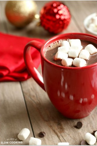 Creamy Slow Cooker Salted Caramel Hot Chocolate (easy 5 ingredient recipe)