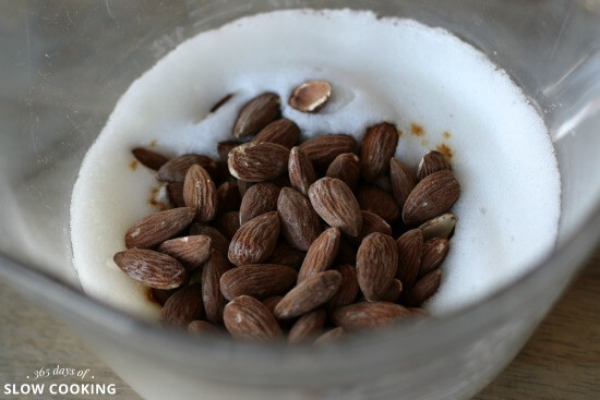 stir almonds into egg whites