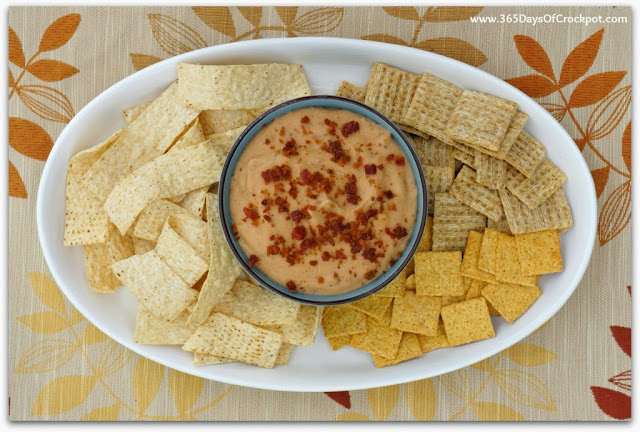 Slow Cooker Warm Cheesy Bacon Bean Dip #bacon #dip #crockpot