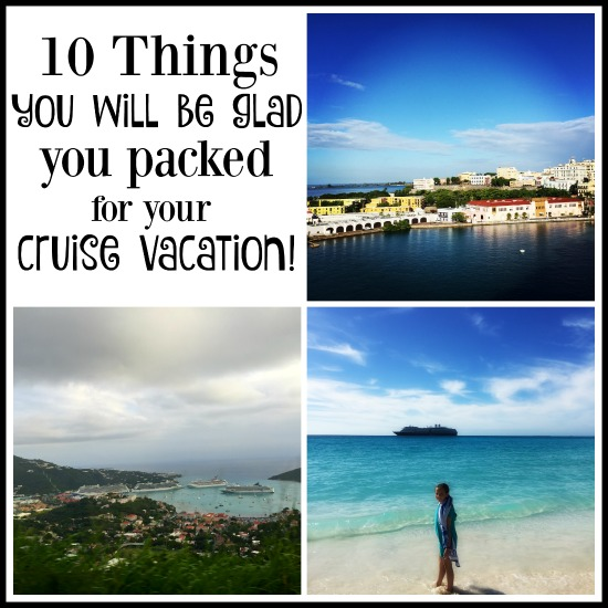 10 things you will be glad you packed for your cruise vacation! As you are packing for your cruise, remember to include these items! They are so helpful.