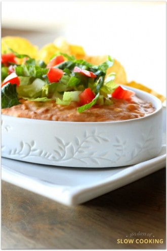 Slow Cooker Hot Bean Dip (best bean dip ever)