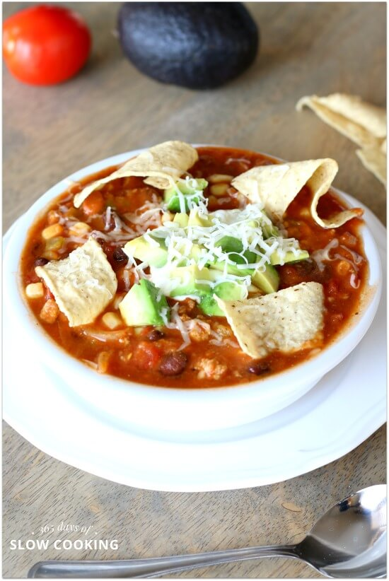Slow Cooker Creamy and Skinny Taco Chili Soup Recipe. You can use ground turkey, ground chicken or ground beef in this recipe. This soup is satisfying and creamy but not cream based.