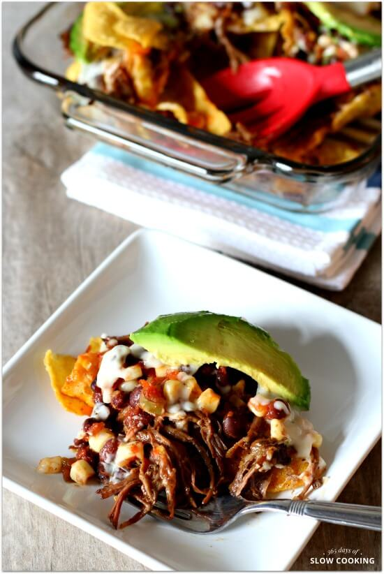 Nachos Casserole (with Crockpot Shredded Beef and White Queso Cheese Sauce)