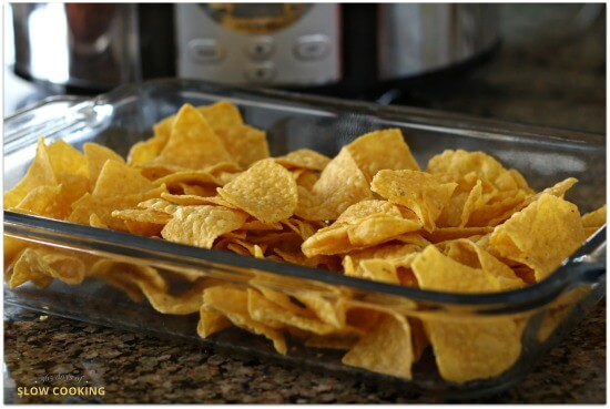 Nachos casserole--start with a bag of tortilla chips