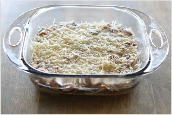 garlic parmesan oven baked brown rice with diced mushrooms