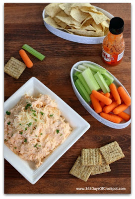 Easy and ADDICTING 3-ingredient recipe for slow cooker buffalo chicken dip