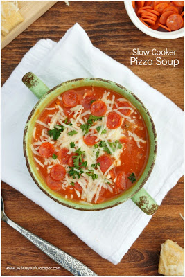 I love this crockpot soup. It tastes like pizza and is so warm and comforting.